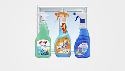 Средства для мытья стекол и зеркал